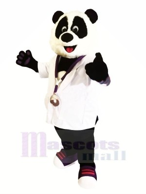 Doctor Panda with White Shirt Mascot Costumes Animal
