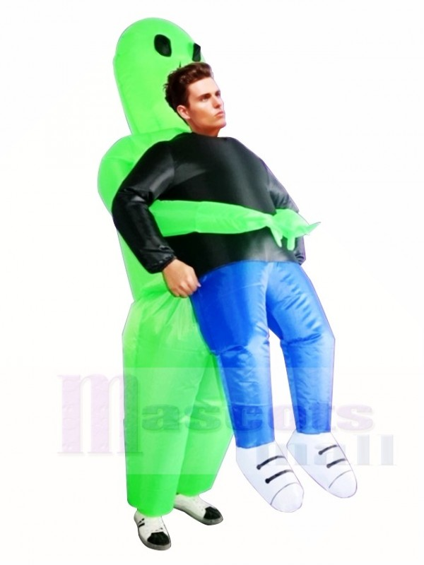Green Alien ET Carry me Monster Inflatable Blow Up Halloween Xmas Costumes for Adults