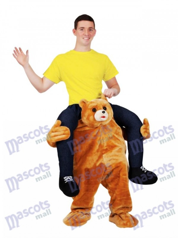 Ride on Me Teddy Bear Carry Me Ride Mascot Costume Brown Bear Stuffed Stag Mascot