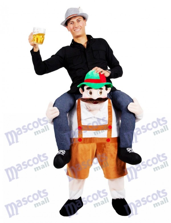 Piggy Back Shoulder Bavarian Oktoberfest Beer Guy Carry Me Ride On Stag Mascot Costume