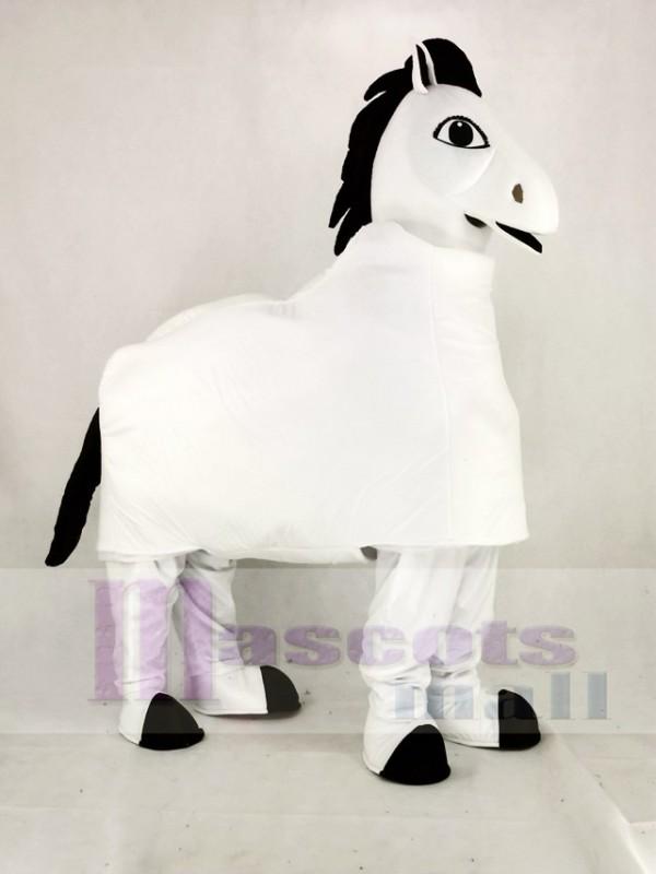 White 2 Person Horse Mascot Costume Cartoon