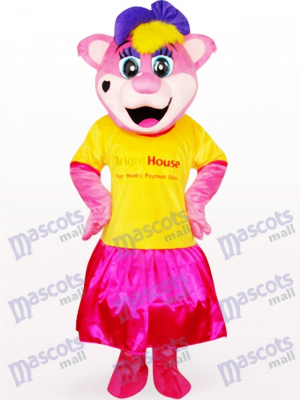 Yellow Female Pipi Bear With Logo Anime Mascot Costume