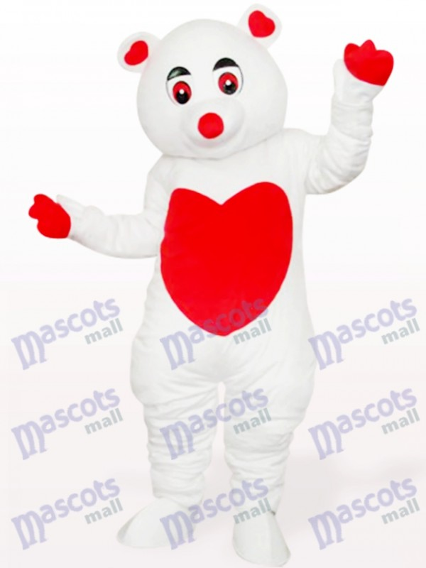 White Care Bear Cartoon Mascot Costume