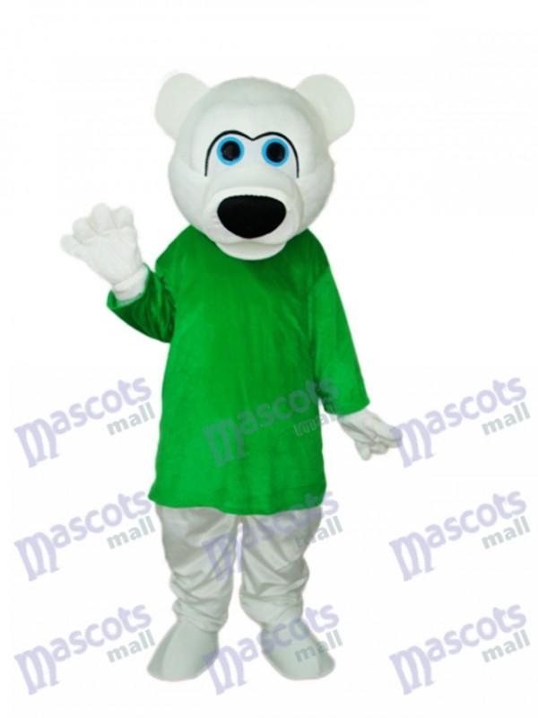 Green Shirt White Bear Mascot Adult Costume