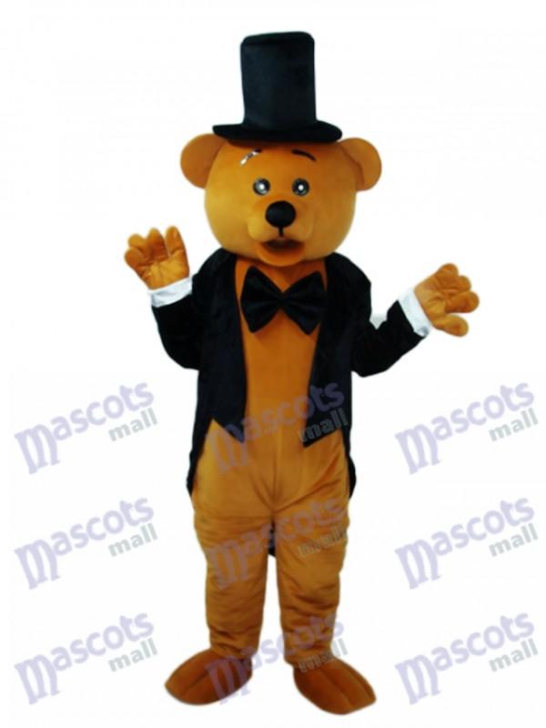 Bear in Black Suit Mascot Adult Costume