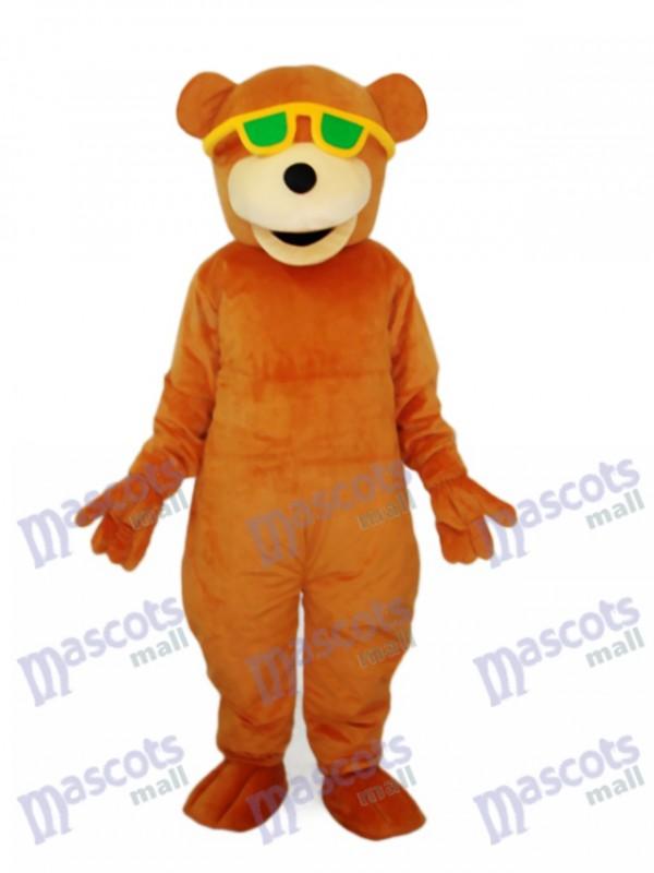 Bear with Green Sunglasses Mascot Adult Costume