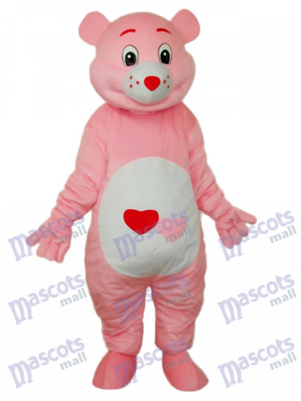 Bear with Red Heart Mascot Adult Costume