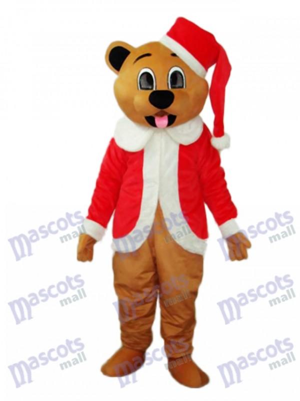 Brown Christmas Bear Mascot Adult Costume