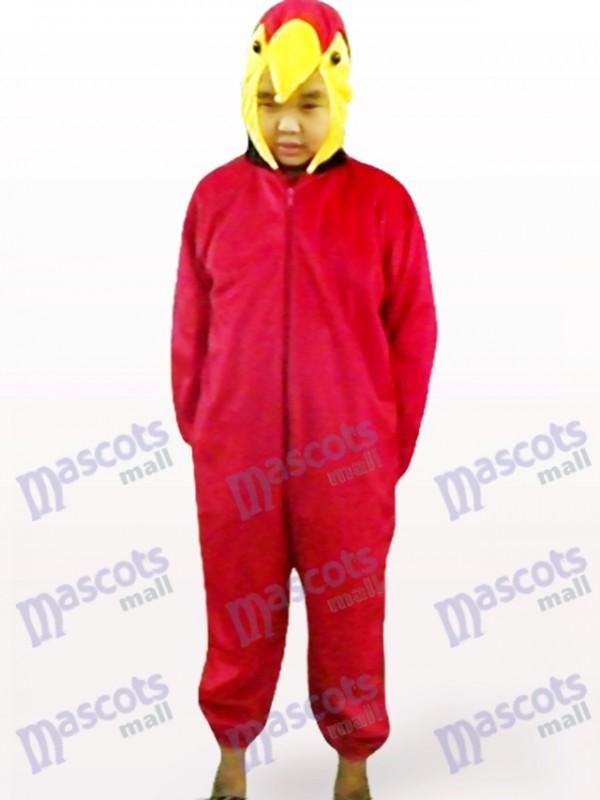 Red Parrot Open Face Kids Bird Mascot Costume