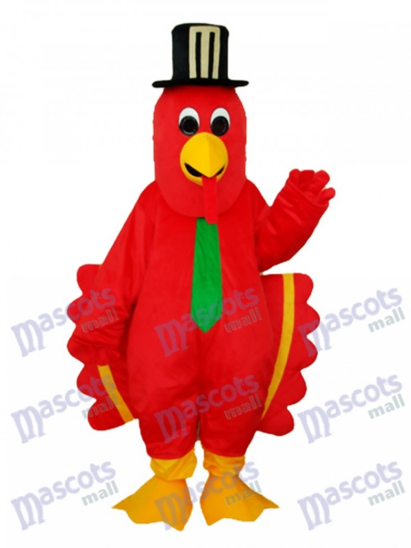 Red Bird with Black Hat Mascot Adult Costume