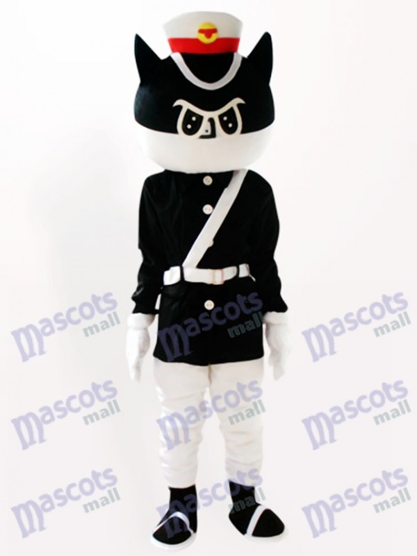 Black Cat Detective Cartoon Adult Mascot Costume