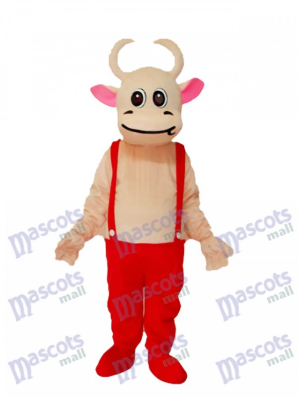 Red Overalls Cow Mascot Adult Costume