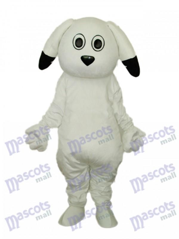 Black Ears White Dog Mascot Adult Costume