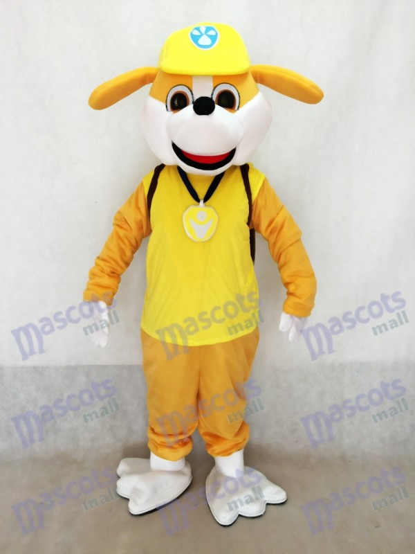 English Bulldog Pup Paw Patrol Rubble Mascot Costume Yellow Dog