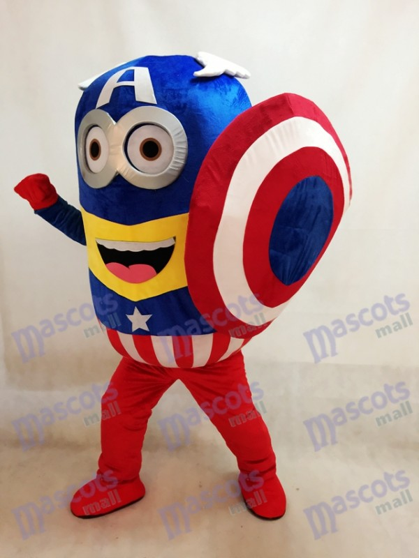 Despicable Me Minions Captain America with Shield Mascot Costume Fancy Dress Outfit