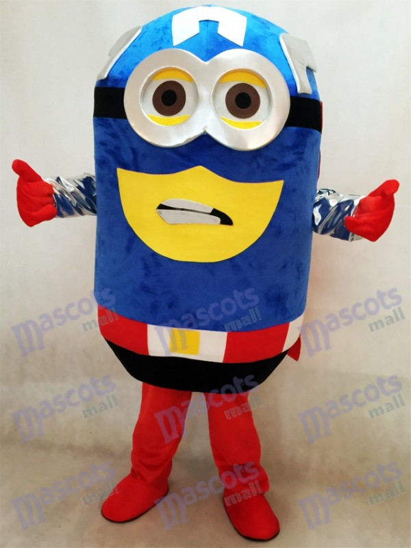 Despicable Me Minions Captain America Mascot Costume with Cape