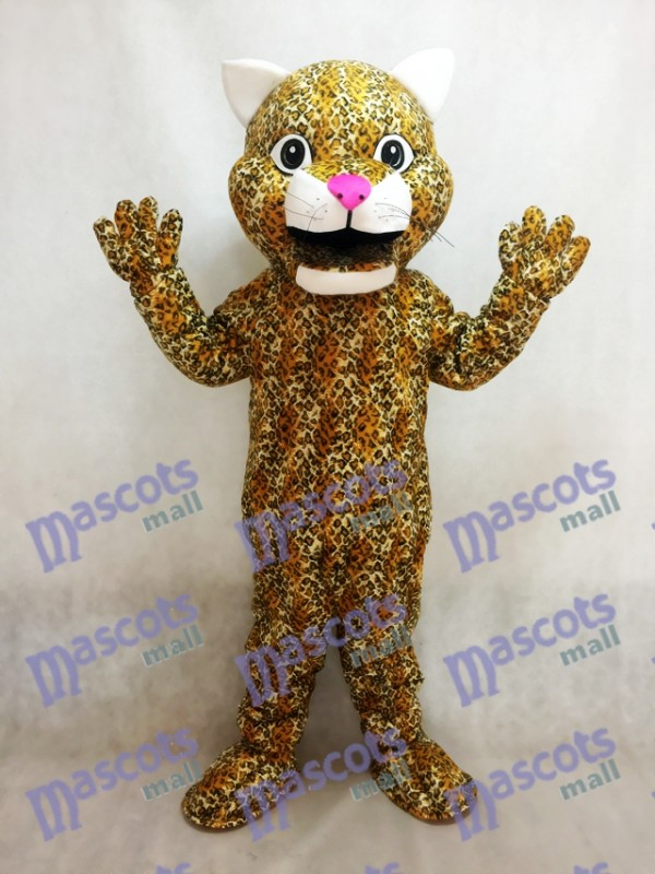 Leaping Leopard Mascot Costume with a Pink Nose