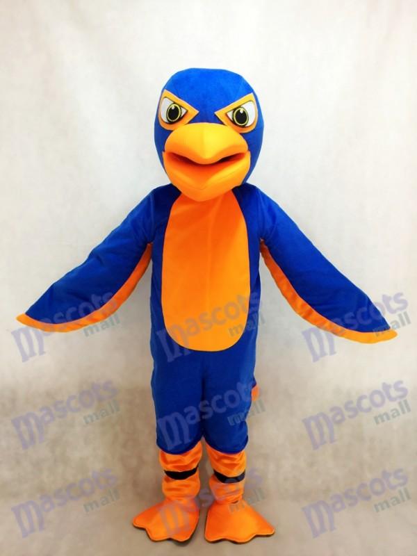 Friendly Royal Blue and Orange Falcon Mascot Costume