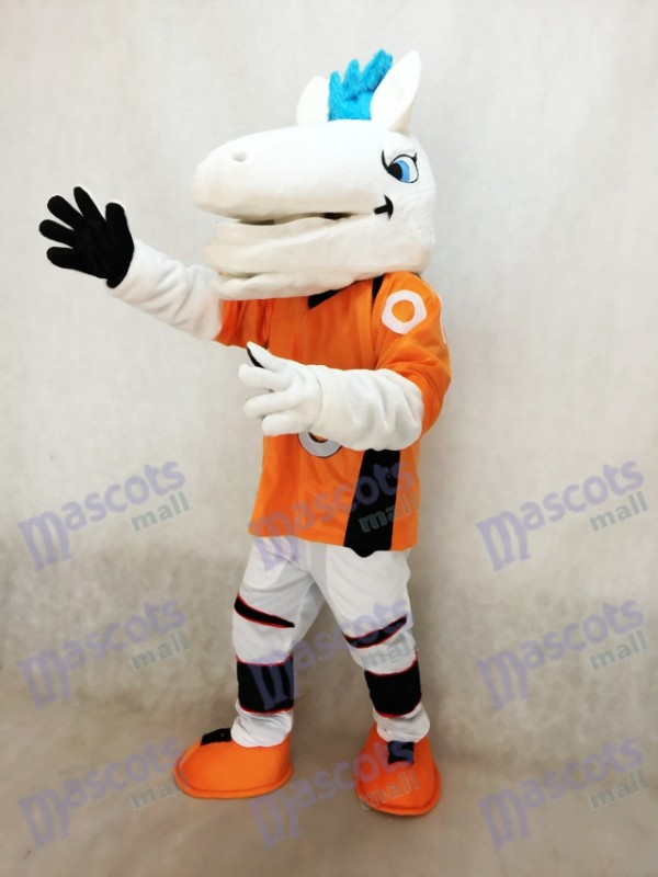Mustang Horse Broncos with Blue Mane Mascot Costume