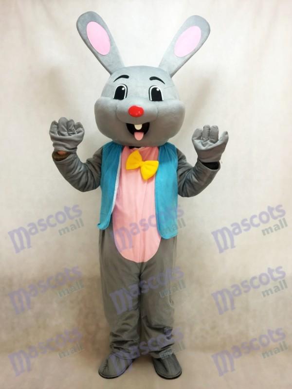 Easter Grey Bunny Gray Rabbit Hare Mascot Costume in Blue Vest