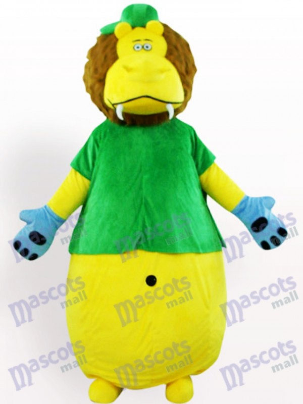Yellow Lion In Green Clothes Animal Mascot Costume