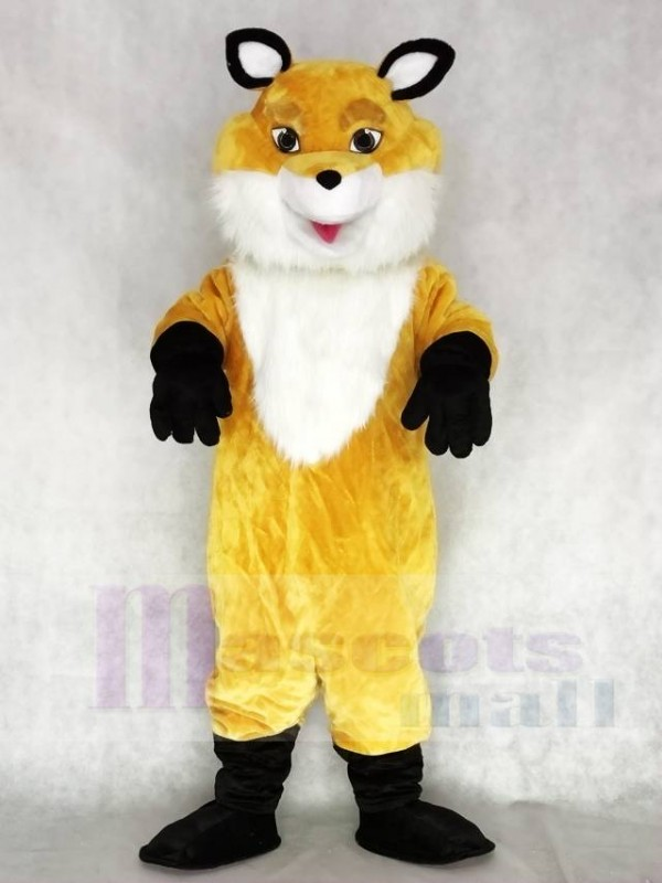 New Yellow Fox Mascot Costume with White Chest
