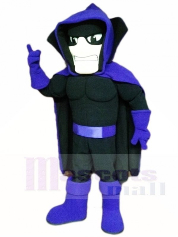 Black Phantom Ghost Specter with Purple Cape Mascot Costumes