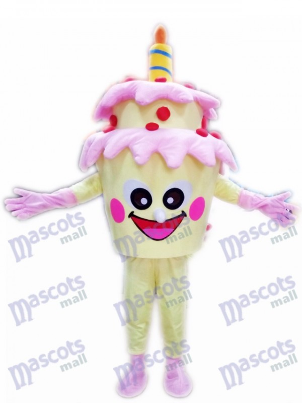 Two-Layer Birthday Cake with Candle Mascot Costume Food Dessert