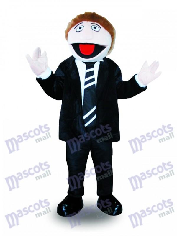 Black Suit Man Mascot Costume Cartoon