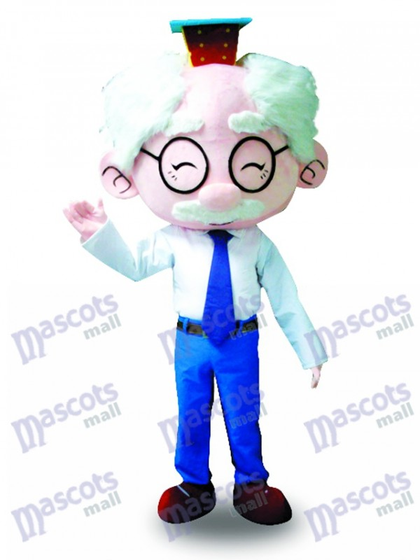 White Suit Glasses Old Man Mascot Costume