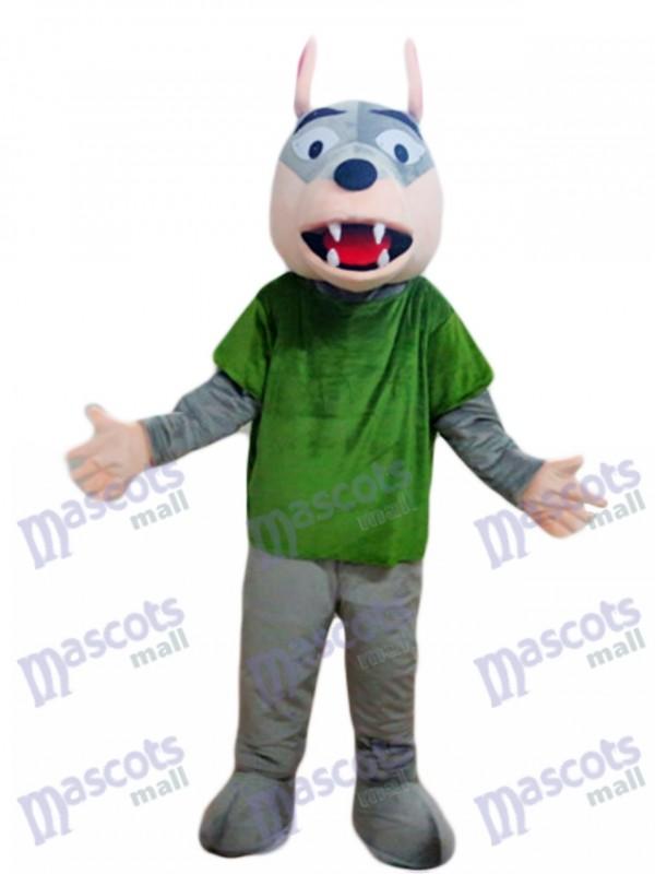 Gray Wolf in Green Shirt Mascot Costume Animal