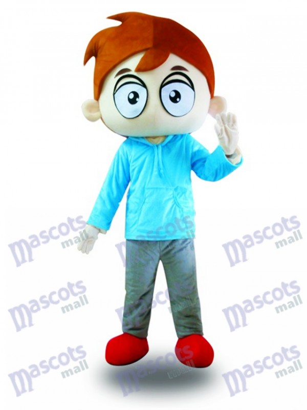 Blue Shirt Big Eyes Boy Mascot Costume