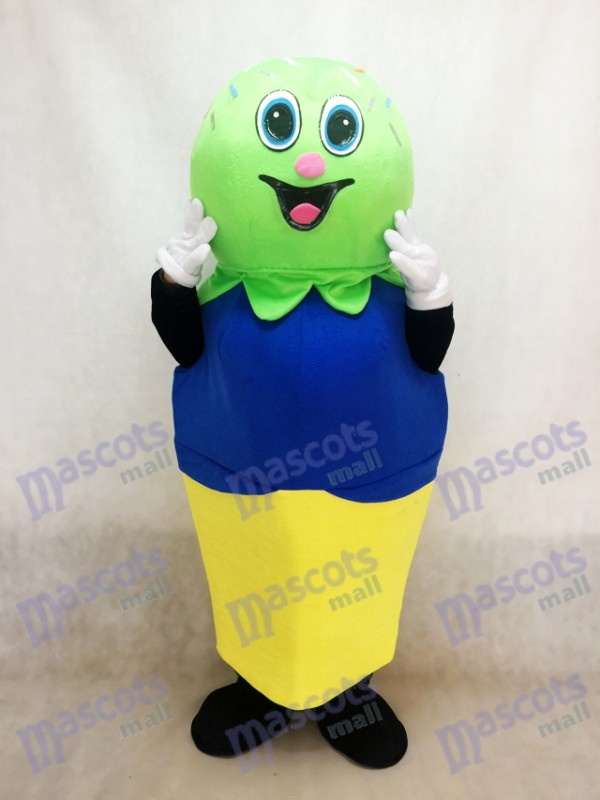 Double Scoop (Green and Blue) on a Cake Cone Mascot Costume Ice Cream