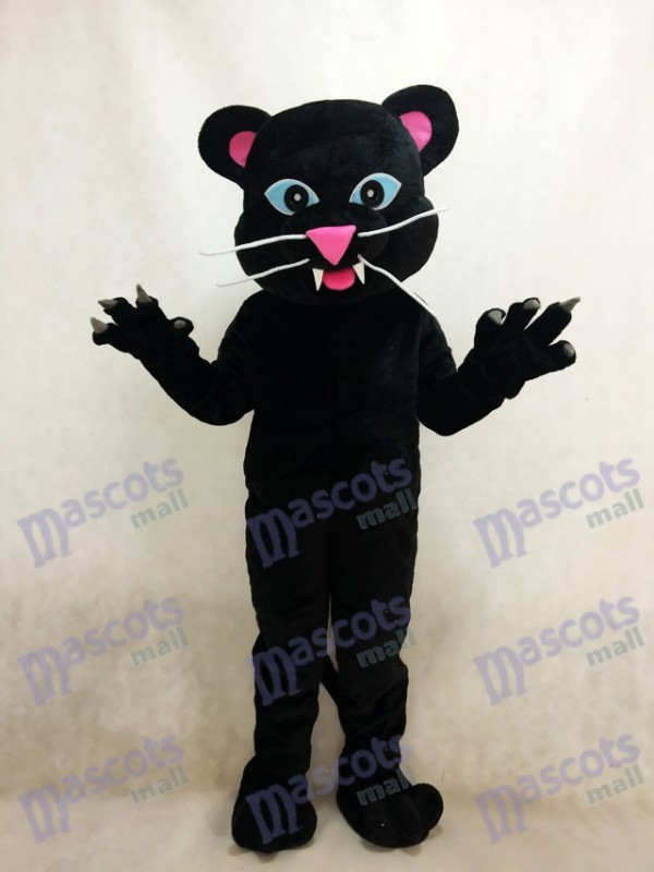 Black Panther Mascot Costume with Blue Eyes