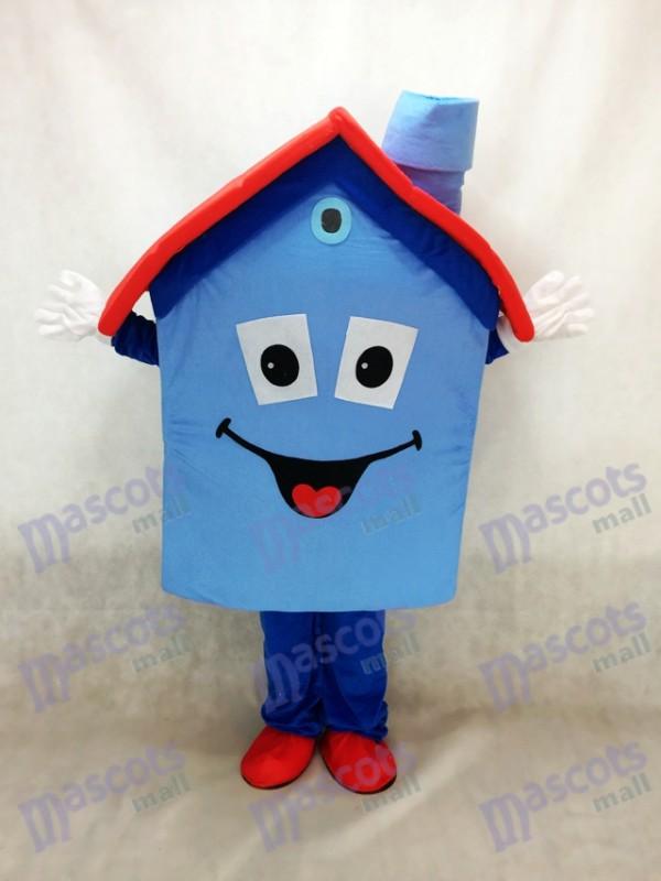 Blue Housing House Mascot Costume Real Estate