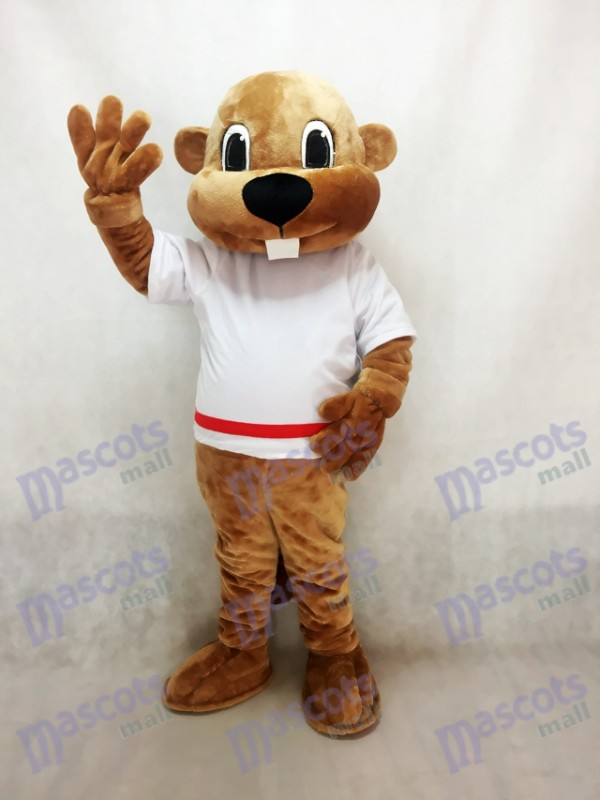 Alex the Beaver Mascot Costume in White Shirt Animal