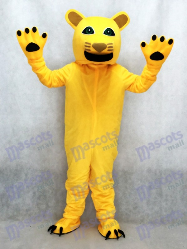 Yellow Cougar Mascot Costume