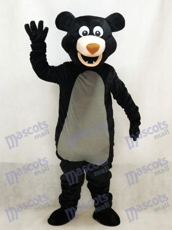 Long-haired Black Bear Mascot Adult Costume Animal
