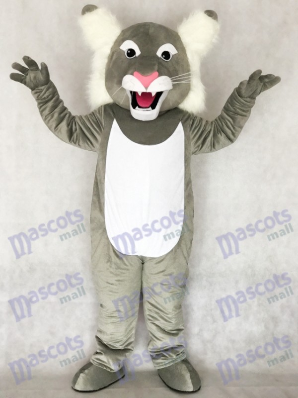 Cute Grey Wildcat Wild Cat Mascot Costume
