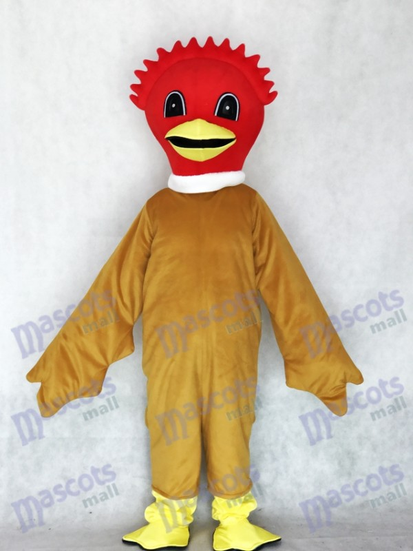 Scarlet Bird Mascot Costume with Brown Body Animal