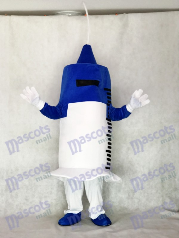 White and Blue Syringe for Hospital Clinic Mascot Costume