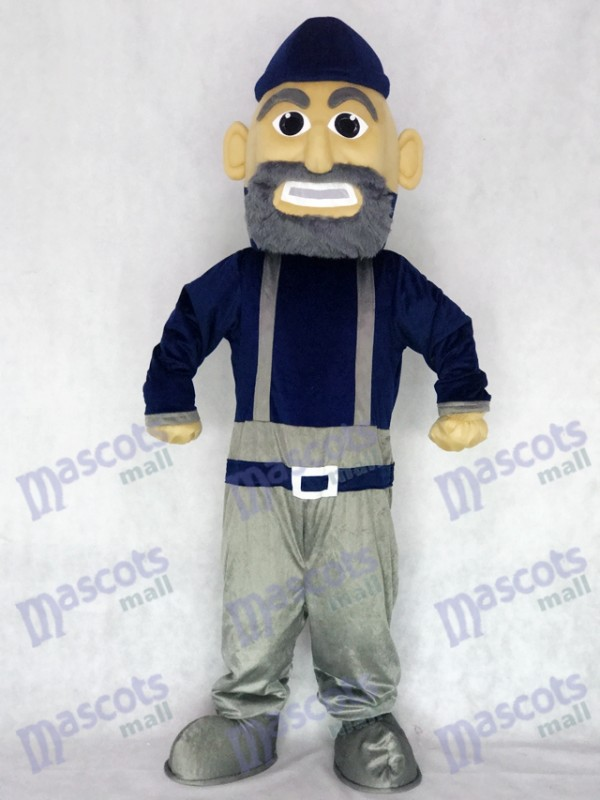 Navy Blue and Gray Mariner Mascot Character Costume