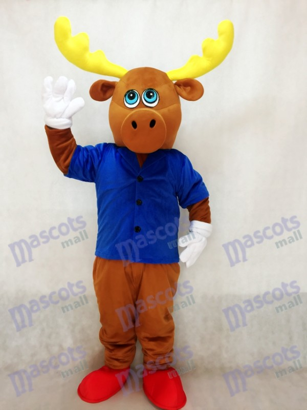 Cute Brown Male Moose with Jacket Mascot Costume