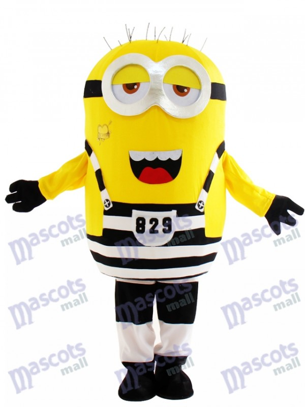 Two Half Open Eyes Minion in Prison Despicable Me Mascot Costume Cartoon