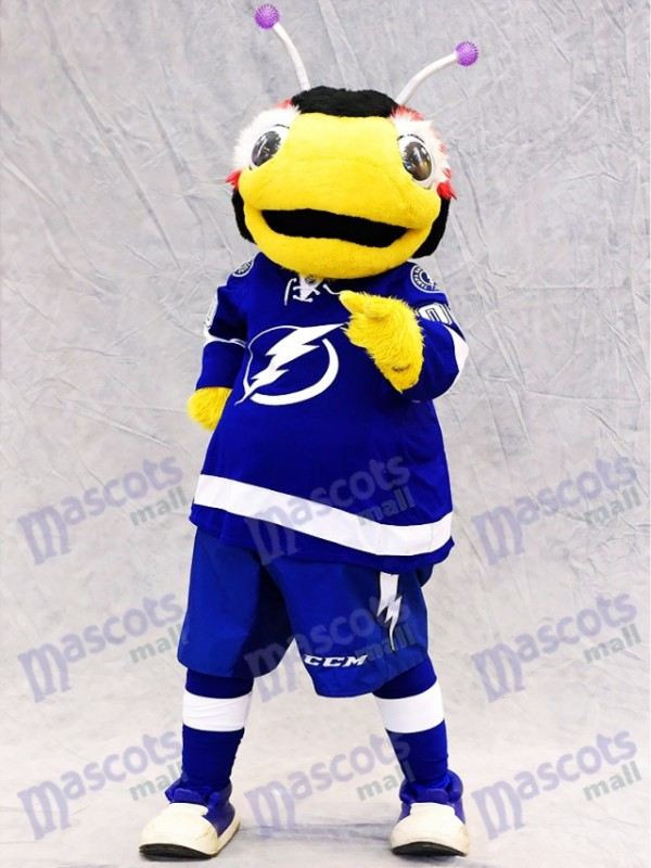 Tampa Bay Lightning Thunderbug Mascot Costume Black and Yellow Lightning Bug Insect