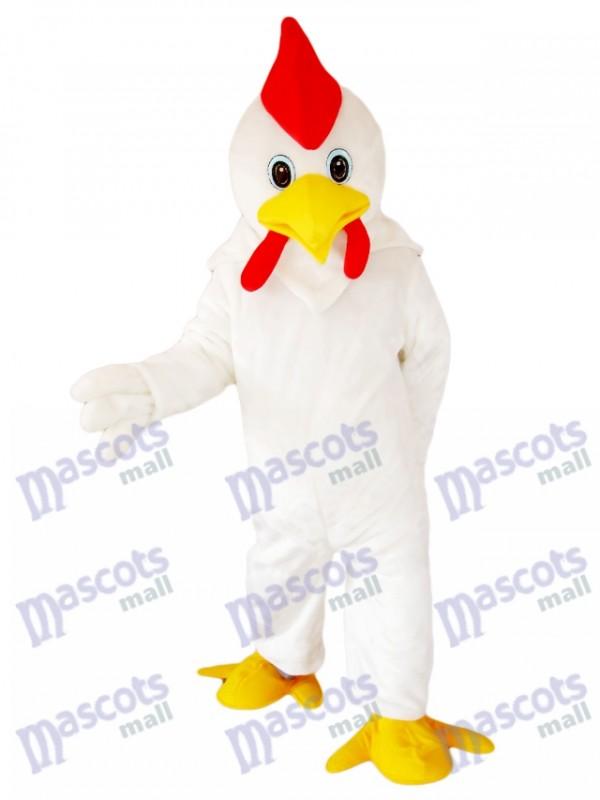 White Cock Chicken Mascot Costume Cartoon Animal