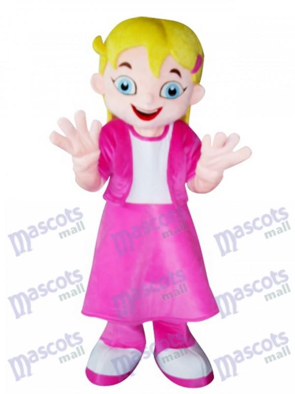 Yellow Hair Girl in Pink Dress Mascot Costume Cartoon