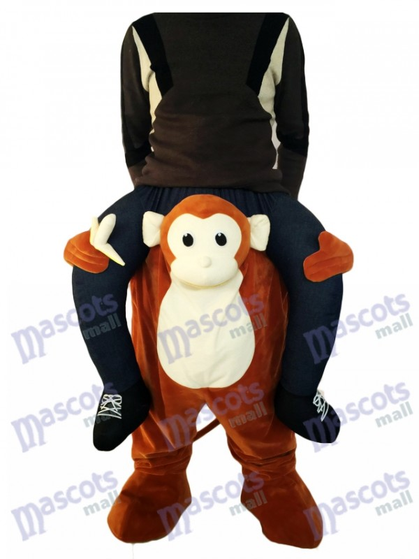 Piggyback Monkey Carry Me Ride Brown Monkey with a Banana Mascot Costume