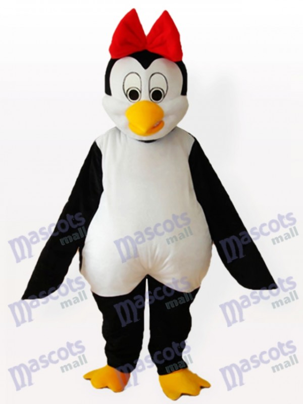 Cutie Penguin with Red Bowknot on the Head Adult Mascot Costume