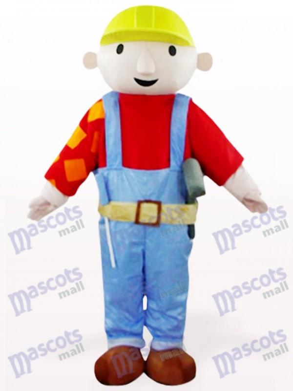 Red Maintenance Worker Bab Cartoon Mascot Costume